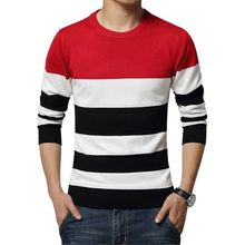 New Men's Leisure Clohing Sweaters with Round Collar and Stripe Cultivate One's Morality Big Yards M-5XL