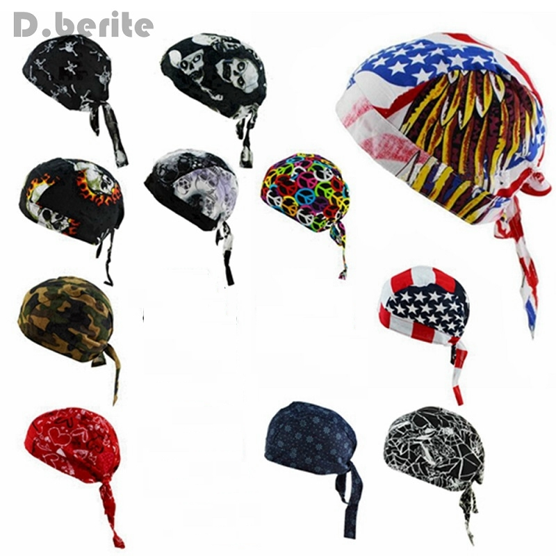 Womens Pure Cotton Skullies Beanies Pirates Hat Biker Cap Mens Bandana Head Wrap Scarf Hat Headwraps DAJ9221 skullies