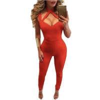 Women Sexy Bodycon Jumpsuits Barboteuse Summer Halter Sleeveless Back Deep V Open Skinny Overalls Full Length