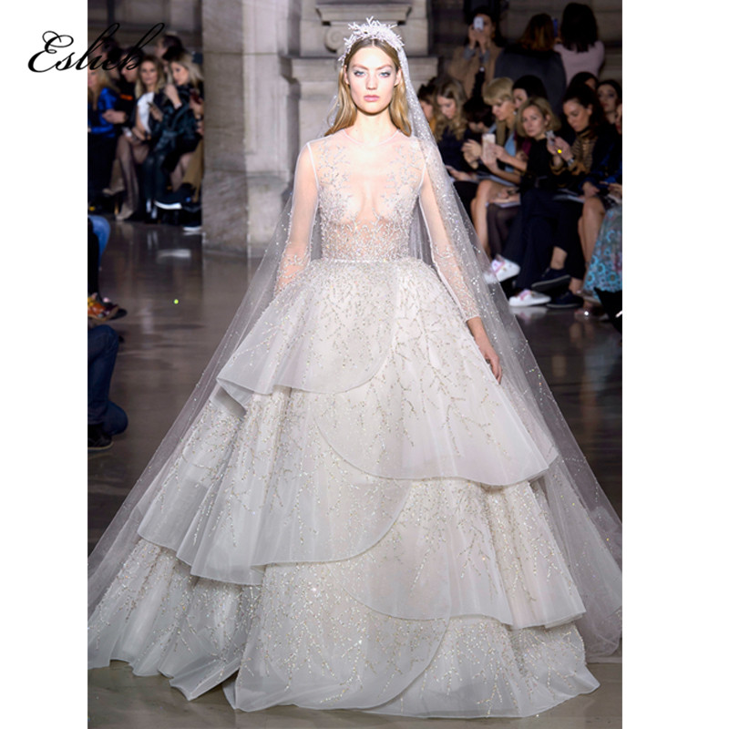 Stunning wedding dress ball gown heavy beaded lace luxury bridal gown long sleeves sheer bodice sexy design wedding gown HA043
