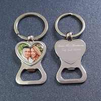 Personalized Wedding Favors and Gifts Heart Shaped Photo Key Ring Bottle Opener Customized Bottle Opener Keychain with Picture
