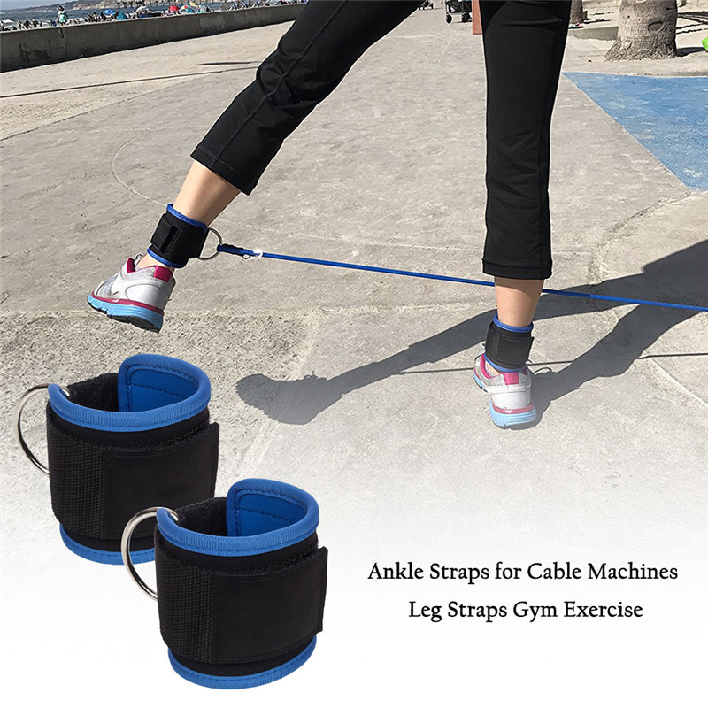 Blue Resistance Band D-ring Ankle Straps Workouts with Durable Cuffs for Ab, Leg & Glute Exercises Home Gym Fitness Equipment