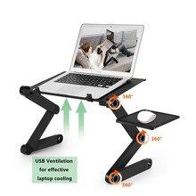 Dos Fan escritorios ordenador portátil plegable ajustable portátil vuelta PC de escritorio plegable mesa de ventilación soporte bandeja de cama