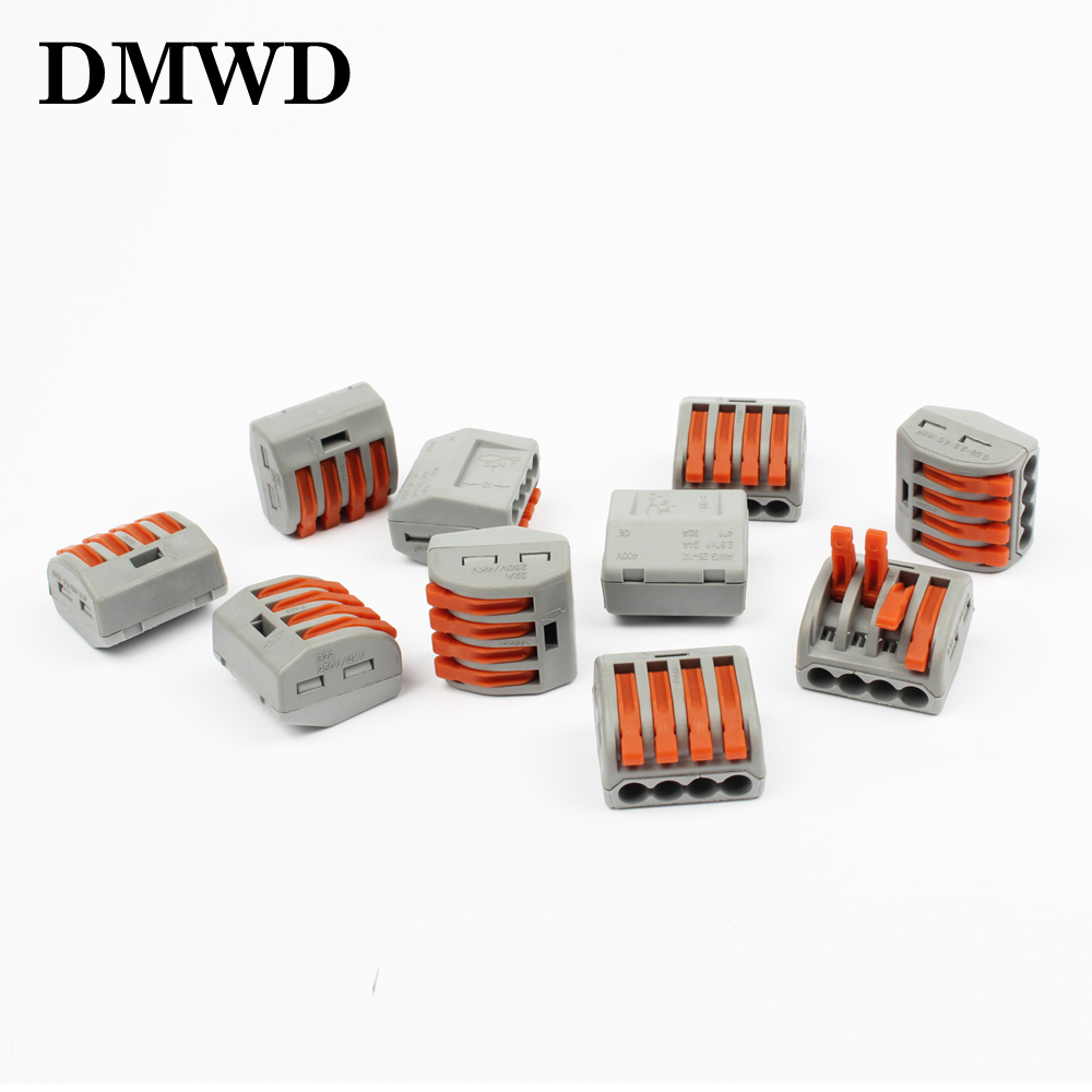 10Pcs PCT-214 Universal Compact Wire Wiring Connectors Connector 4 Pin conductor terminal block with lever fit new 10 pieces lot 222 413 universal compact wire wiring connector 3 pin conductor terminal block with lever awg 28 12