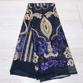 Best Quality African Lace Fabric Navy Blue Swiss Voile Lace High Quality Embroidery French Mesh 2019 Nigeria Lace Fabric JY18B12