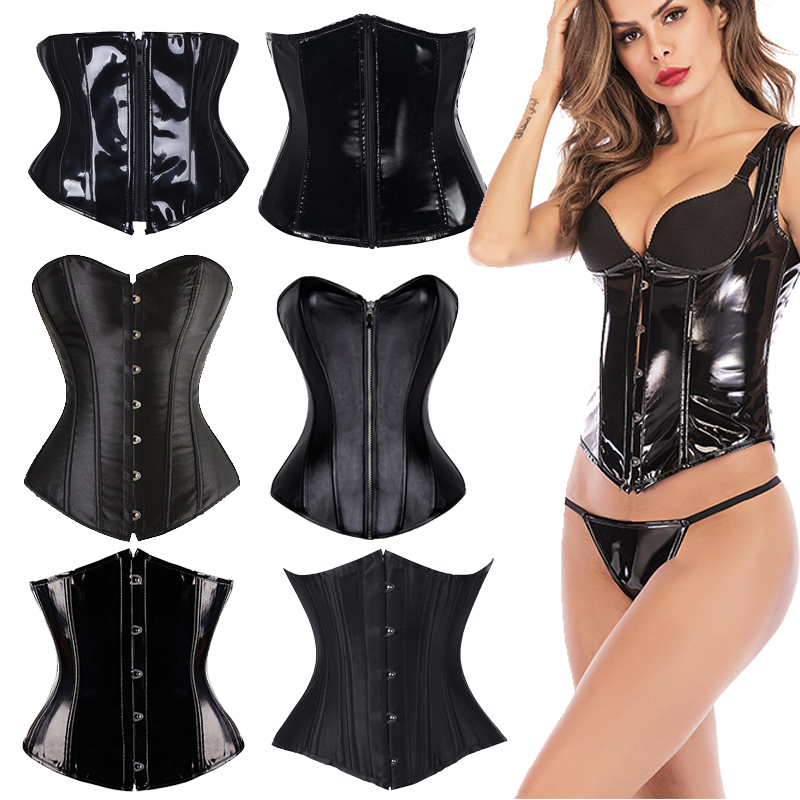 Women PVC Corset Short Torso Heavy Duty Waist Trainer Corset For Weight Loss Zipper Black Steampunk Underbust Corselet Plus Size