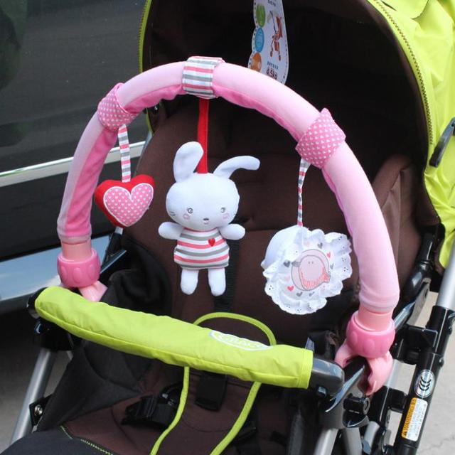 sozzy baby stroller car clip car hanging toy  music clip pink rabbit