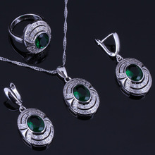 Elegant Oval Egg Green Cubic Zirconia White CZ 925 Sterling Silver Jewelry Sets For Women Earrings Pendant Chain Ring V0270