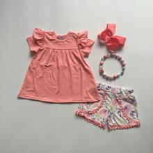 Bébé filles tenues dété tenues fraîches et froides corail top floral shorts bébé filles boutique vêtements avec accessoires