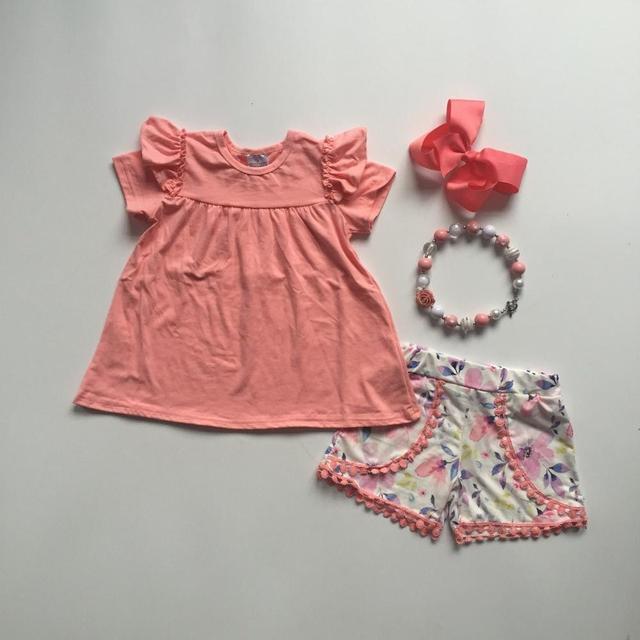 Baby meisjes zomer outfits verse en koude outfits coral top bloemen shorts baby meisjes boutique kleding met accessoies
