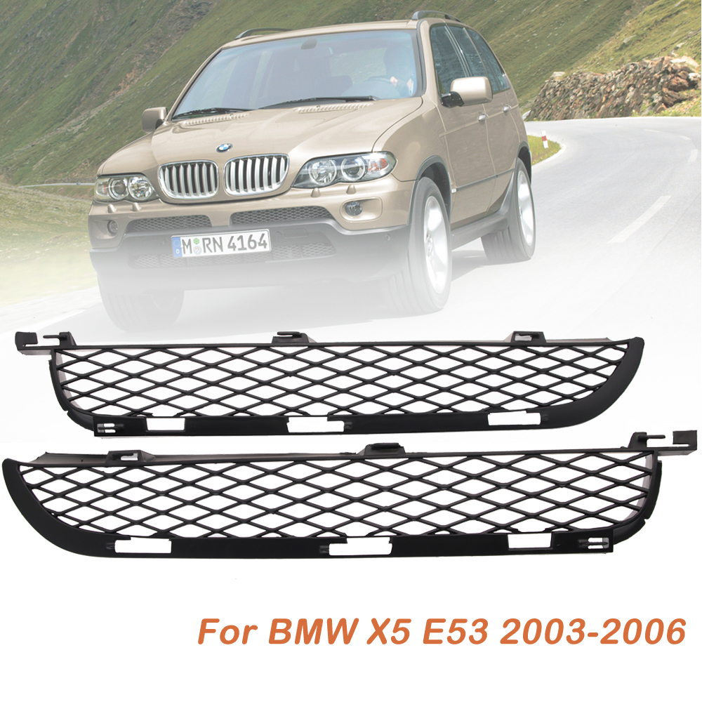 Pair Black Front Upper Bumper Mesh Grilles For BMW X5 E53 2003-2006 Facelift for bmw e53 x5 2004 2006 4dr lci facelift car front grille grills car styling covers grilles