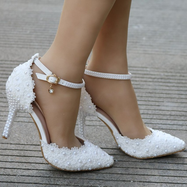 White lace wedding shoes Elegant heels thin heels pointed toe high ...