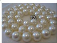 14mm Fashion girl jewelry AAA 14MM SOUTH SEA WHITE PEARL NECKLACE Halsketten Big Sweater chain Golden silver