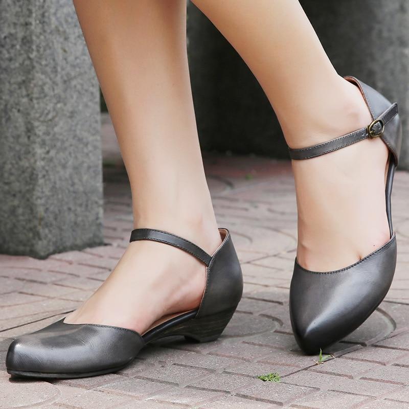 G73 D'été Pompes Khaki Boucle Cuir 98 Sangle Talon 2019 Pointu Mary Faible Sandales Dames En Janes Décontracté Grey Femmes Bout black Chaussures Véritable TRUTYwq