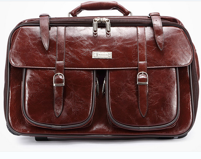 Bolsa De Ombro Masculina Vintage : Inch vintage travel bag male patent leather trolley