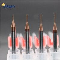 1pc longo pescoço plano endmill hrc55 0.5mm 0.6mm 0.8mm 1.0mm fresa cnc ferramentas de corte fresa de aço de furo profundo para metal