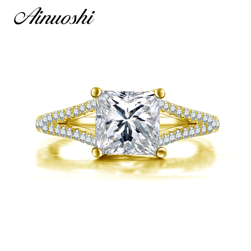 все цены на AINUOSHI 10K Solid Yellow Gold Wedding Rings 1.6 ct Simulated Diamond Princess Cut Anillos Jewelry Gift Women Engagement Rings онлайн