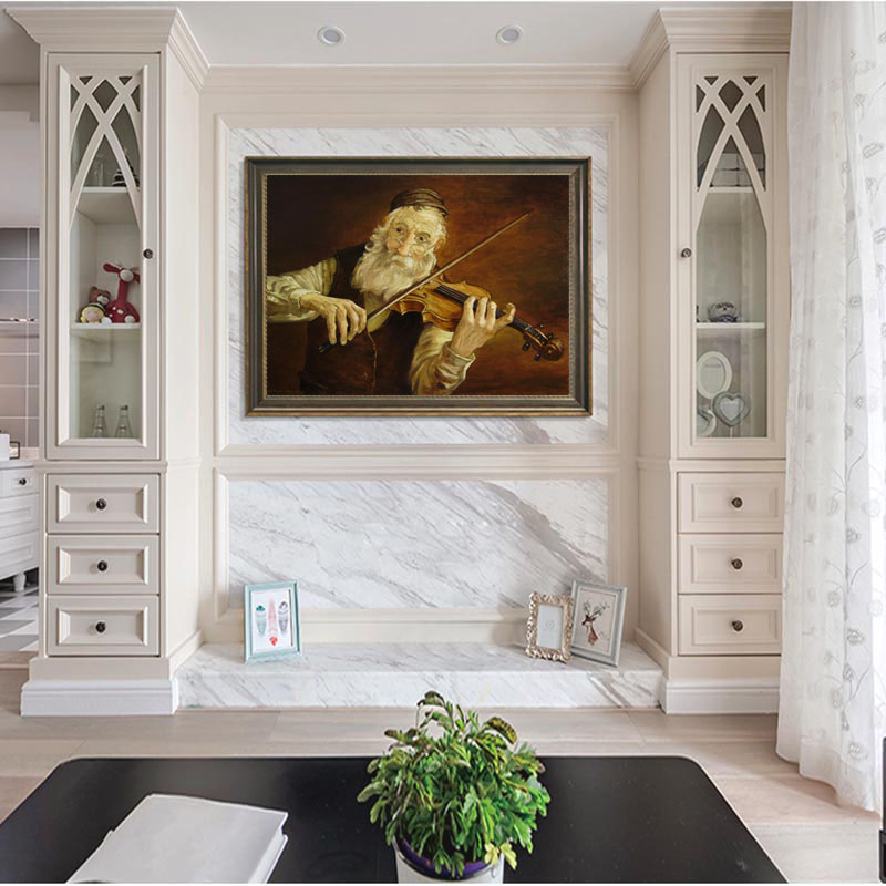 UnFramed Oil Painting Musician Violin On Canvas Painting For Home Office Hotel Wall DecorUnFramed Oil Painting Musician Violin On Canvas Painting For Home Office Hotel Wall Decor