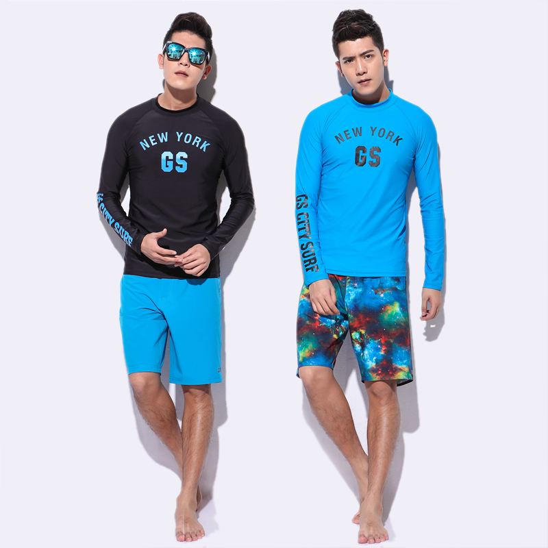 aeb351f6646 GS men long sleeve swimsuit rashguard swimming wear diving surf shirt and board  shorts swim trunk beachwear rash guard UPF50 UV-in Body Suits from Sports  ...