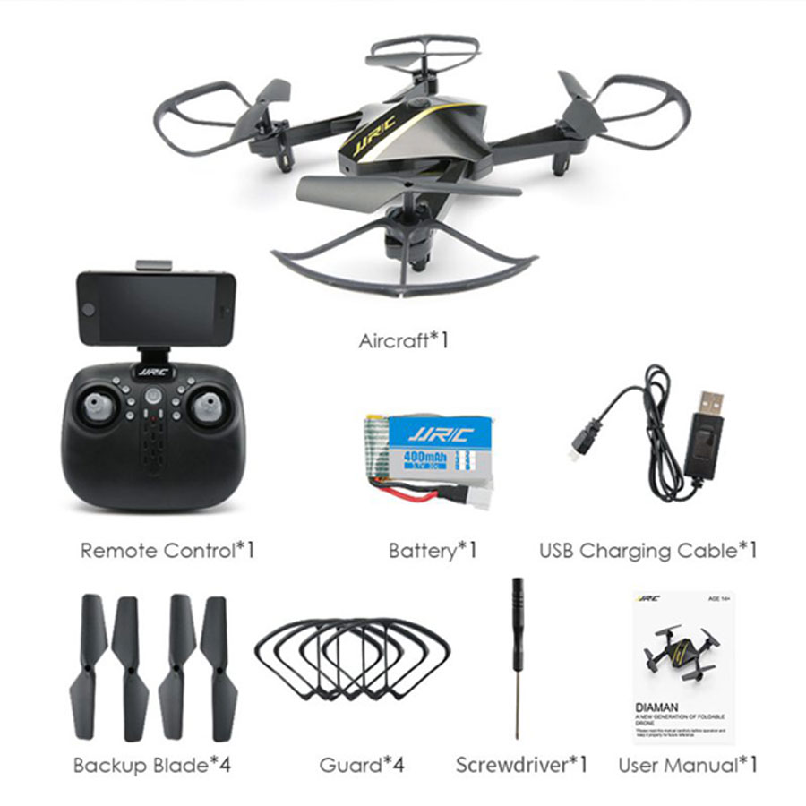 JJRC H44WH DIAMAN Foldable Selfie Drone 720P HD Camera WIFI FPV With Altitude Hold Mode RC Quadcopter Helicopter jjrc h44wh diaman foldable selfie drone 720p hd camera wifi fpv with altitude hold mode rc quadcopter helicopter