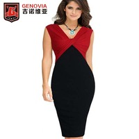 Sexy Women Casual Pencil Dresses For OL Work Suits Slim Elegant V Neck Multi Fashion Casual