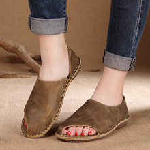 Summer Shoes Full Genuine Leather High Quality of Handmade Womens Shoes Comfortable Soft Leather Casual Flat