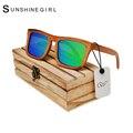 13 Colores Gafas Polarizadas de Los Hombres gafas de Sol de Madera De Bambú Real Plateado Lentes de Deporte Gafas de Bambú