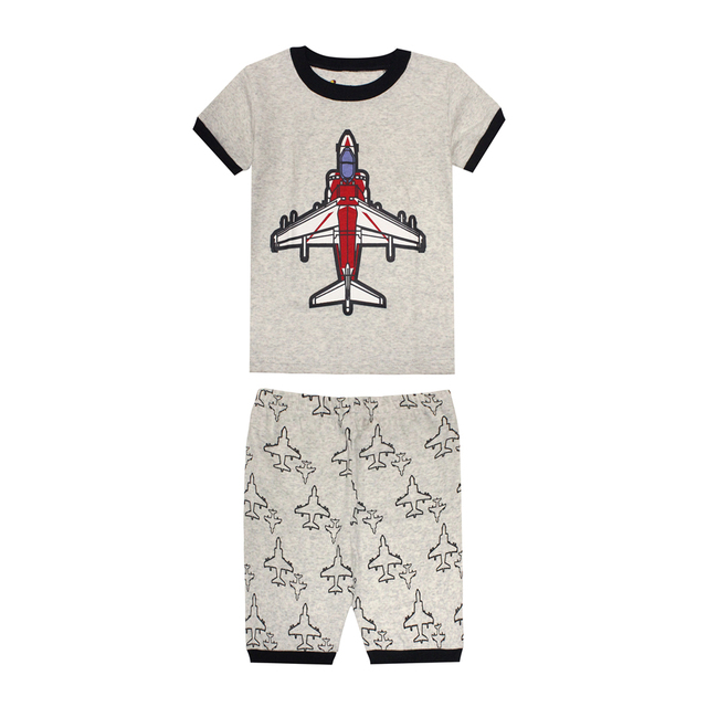 e2e43a74406 2018 summer new kids space shuttle pajamas boys space airplane pyjamas  children cars fire truck excavator clothing girls suits