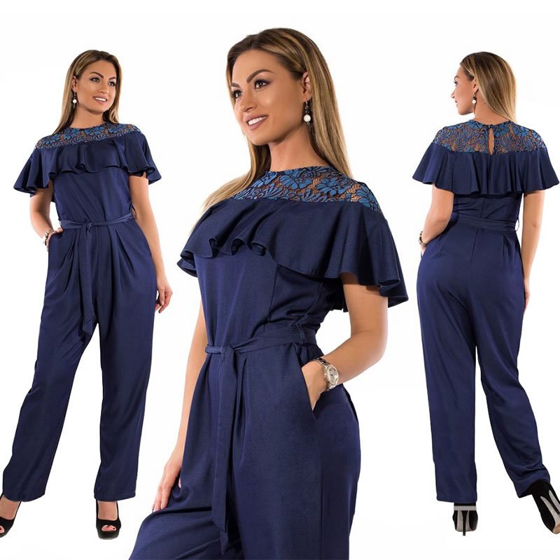 62f1a56ceb1 2019 6XL Autumn Plus Size Jumpsuit Off Shoulder women Sexy Romper Overall  Pants Big Size Casual Office Jumpsuits women clothing