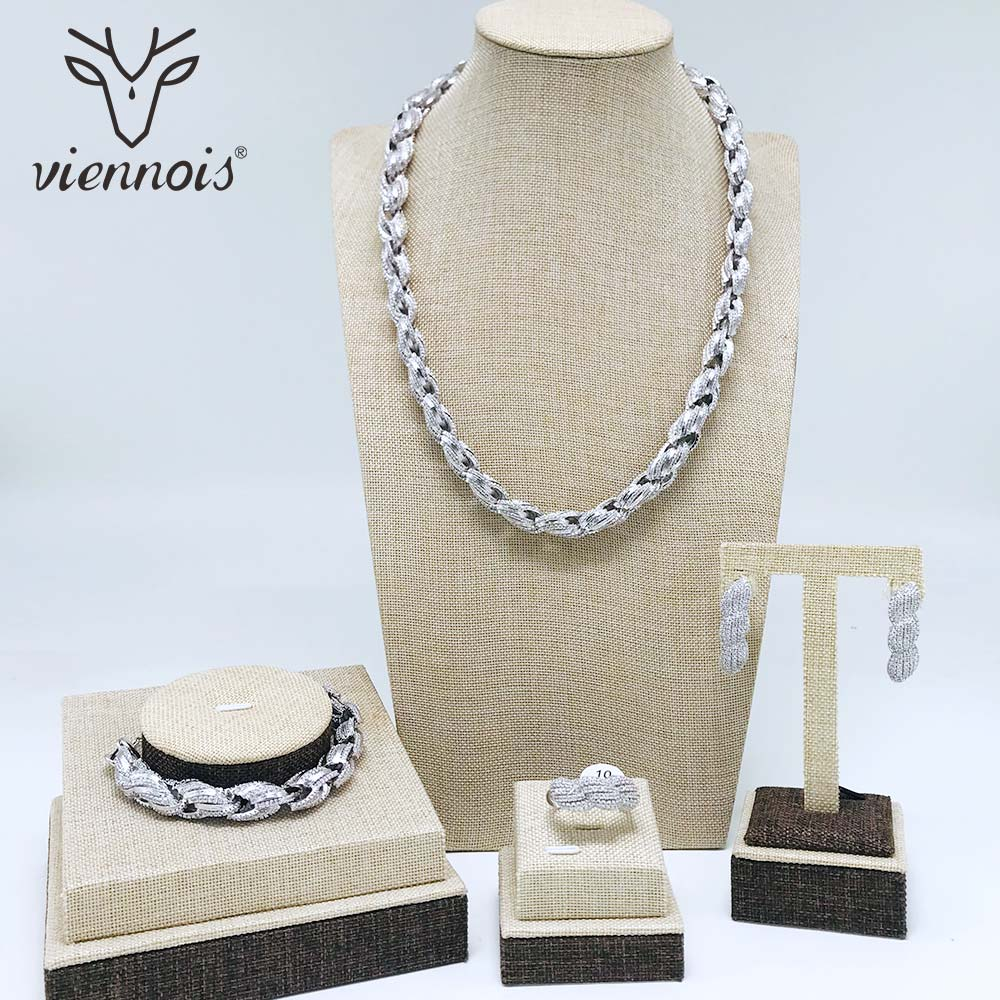 Image 2 - Viennois Silver/ Gold Color Drop Earrings Necklace Set For Women Geometric Party Size 10 Jewelry Set-in Jewelry Sets from Jewelry & Accessories