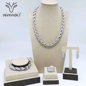 Image 2 - Viennois דובאי סגנון תכשיטי זהב נשים מצופה טבעת צמיד שרשרת שרשרת ועגילי תכשיטי סט 4 ב 1 תכשיטי סט