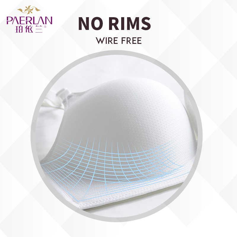 PAERLAN ไม่มีรอยต่อไม่มีแหวนเหล็กตรงผ้าฝ้ายสีขาว bra รวบรวมได้อย่างราบรื่นปรับ breathable ชุดชั้นในหญิง