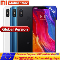 Global Version Original Xiaomi Mi 8 6GB  64GB Mobile Phone Mi 8 6.21'' AMOLED Display Snapdrag 845 Octa Dual 12.0MP+20.0MP
