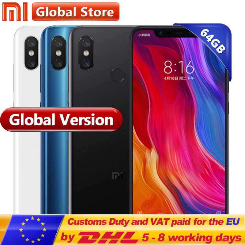 Global Version Originale Xiao mi mi 8 6 gb 64 gb Mobile Téléphone mi 8 6.21 ''AMOLED Affichage Snapdrag 845 Octa Double 12.0MP + 20.0MP