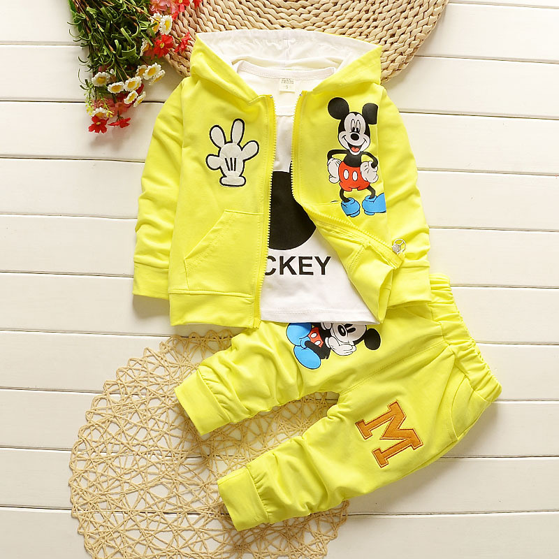New-children-clothing-set-hooded-coat-T-shirt-pant-3-piece-set-red-yellow-gray-boys