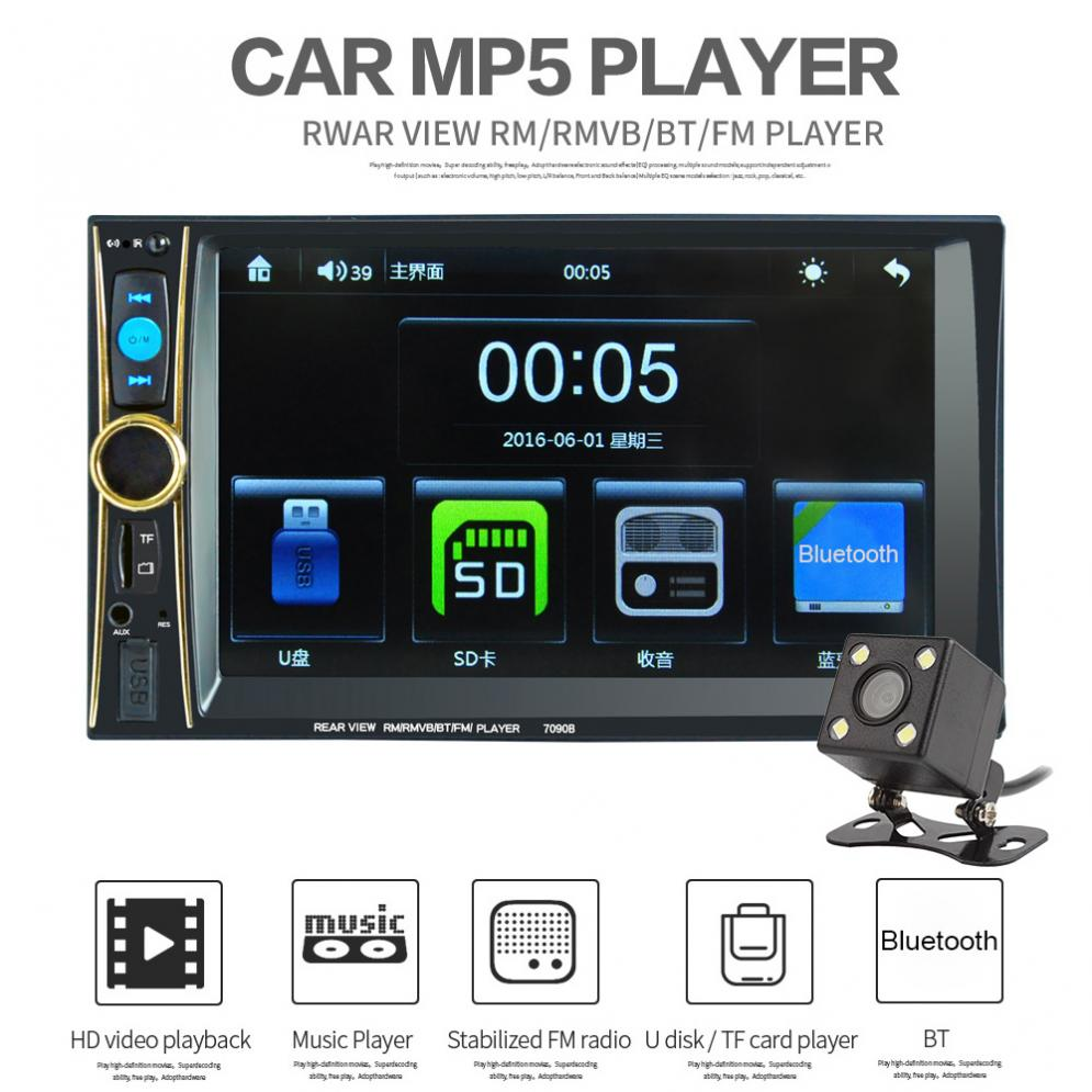 6.6 Inch 2 Din Car Stereo MP5 Player Phone / Tablet Connected GPS Bluetooth FM DVR in Steering Wheel Control + Rear View Camera rk 7157b 7inch 2din car mp5 rear view camera fm am rds radio tuner bluetooth media player steering wheel control