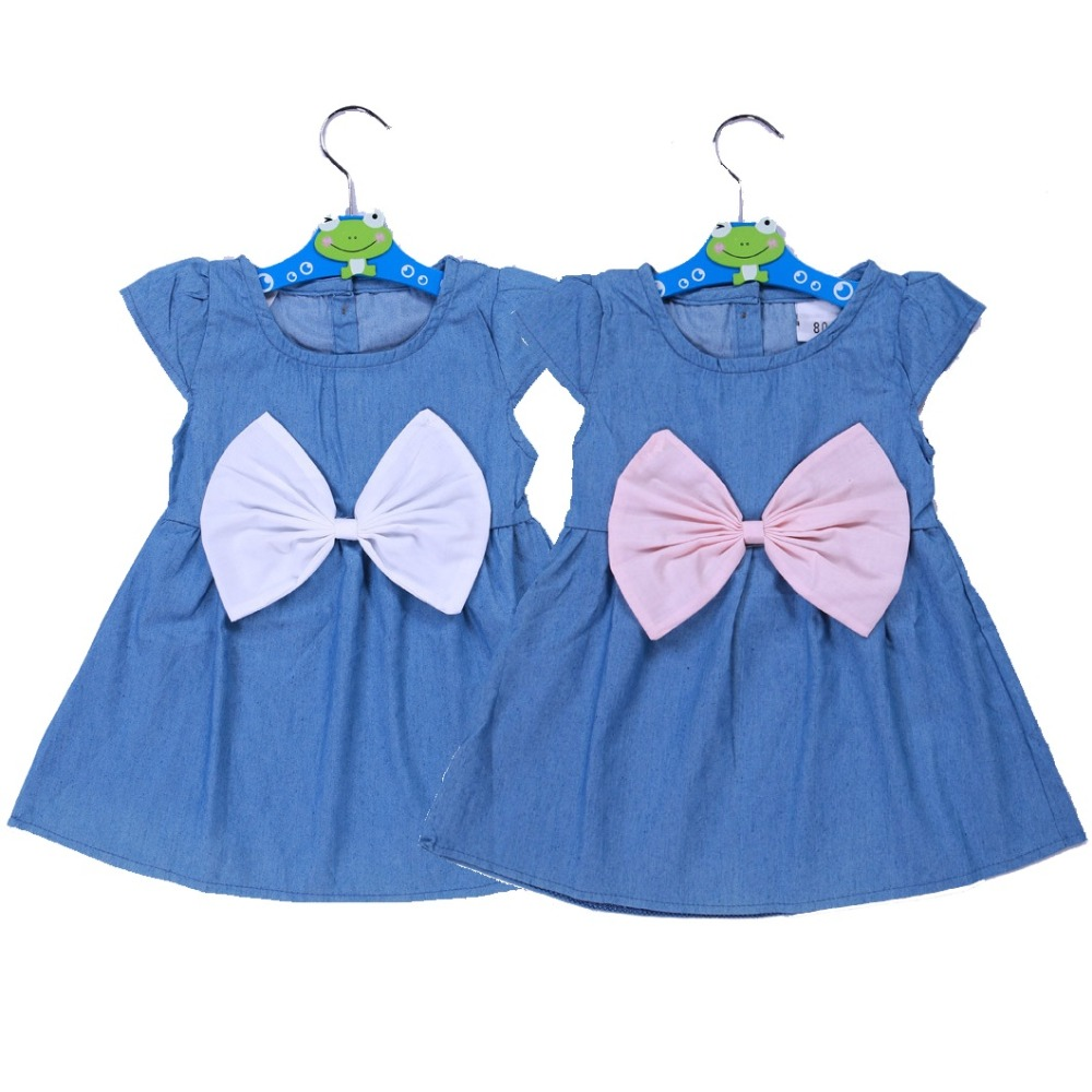 Solid Jean Baby Girls Denim Dress Summer Newborn Clothes Children baptism dresses Big Bowknot Infant Jeans Bowtie Girl Jumpers