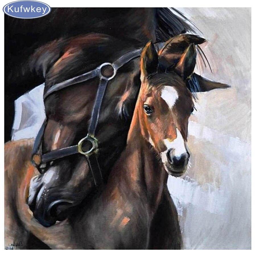 Verrassend 5d diamant schilderij paarden liefde Kristal Diamant Borduren XB-33