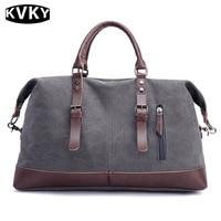 KVKY Canvas Leather Men Travel Bag Carry On Luggage Bags Men Large Capacity Travel Duffel Bag Handbag Male Weekend Bag Overnight