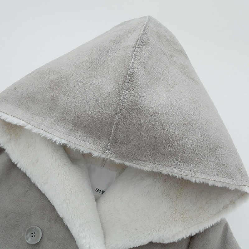 SEMIR Frauen Lange Sherpa-Gefüttert Wildleder Mantel mit Kapuze frauen Mit Kapuze Mantel Zweireiher Mantel Frauen Mode Stilvolle Mantel winter