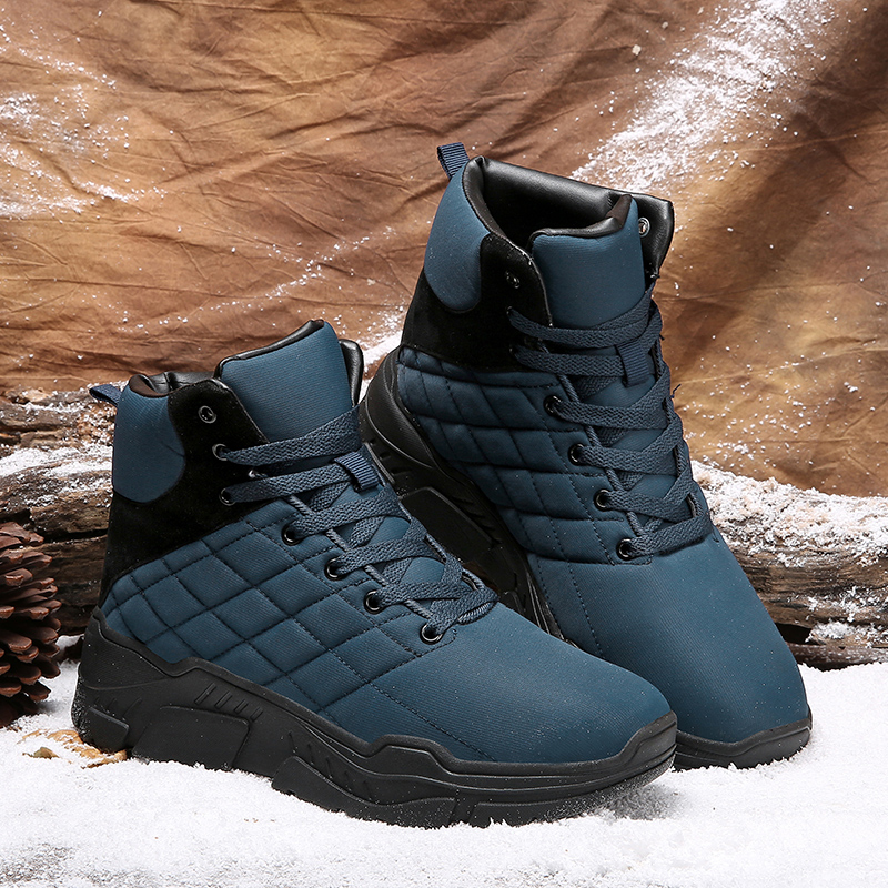 5053a2d24cdd5b Winter Men Ankle Boots Waterproof High Top Hiking Shoes Plush Velvet Keep Warm  Black Blue Shoe Outdoor Sport Non Slip Snow Shoes-in Hiking Shoes from  Sports ...