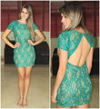 Short Sleeve Green Lace Cocktail Dress Fitted Sexy Open Back Short Party Dress Vestido de festa curto