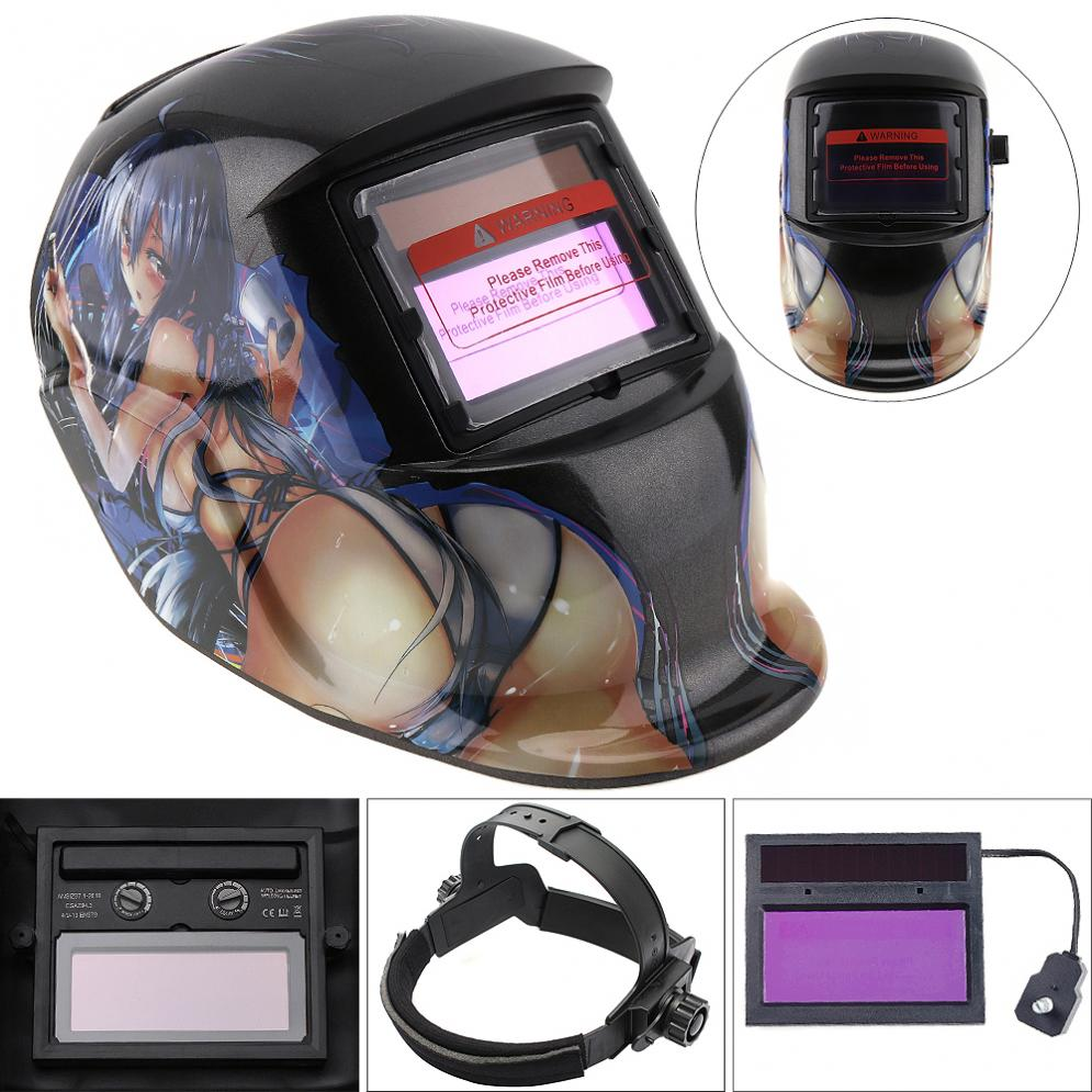 Beautiful Girl Adjust Solar Auto Darkening TIG MIG Grinding Welding Helmets / Face Mask / Electric Welding Mask / Weld Cap ck tech auto darkening welding helmets electric welding hood mask tig mig arc welding face shields optical filter 3116