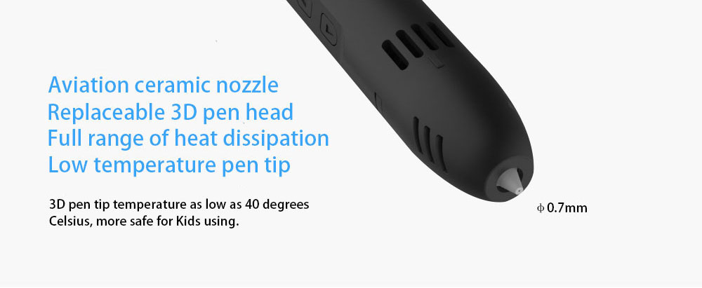 QCREATE QW01-012B 3D Pen PCL Low Temperature 3D Printing Pen LCD screen Heating Temperature and Speed Control free send 10M PCL 12