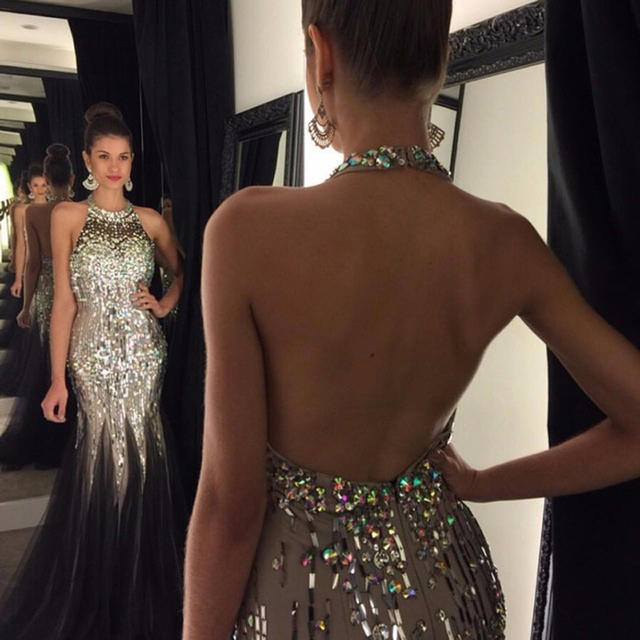 Back Nude Halter Elegant Mermaid Evening Dress 2017 Colorful Crystals Long  Prom Dresses robe de soiree Luxury Women Formal Gown d4ac4ce5f787