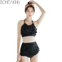 Bonitakinis Solid Black Swimsuit Cute High Quality Bikini Set Small Chest Asia Bathing Suits