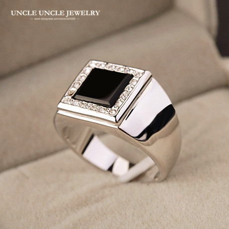 For Man White Gold Color Square Black Onyx Rhinestones Setting Finger Ring Wholesale