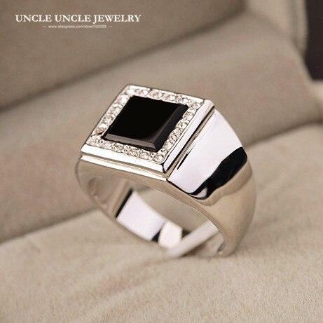 Para hombre Color oro blanco cuadrado de ónix negro de ajuste anillo de dedo regalos de Navidad por mayor envío de la gota Accesorios