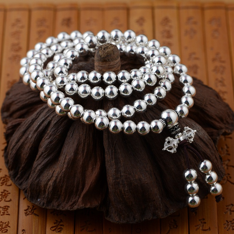 Gold emperor S925 silver, silver bracelet wholesale polishing process buddhist culture three times 108 beads beads death times three