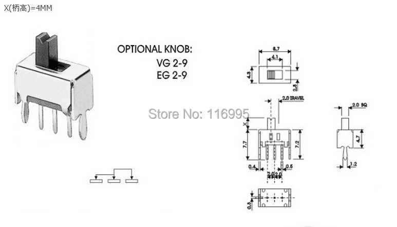 Free shipping 20pcs DIP SS12D07 / with bracket / small toggle switch / handle high 3mm/4MM/5mm
